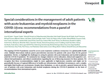 Recommendations for Acute Leukemias and Myeloid Neoplasms in COVID-19 Era