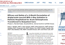 Journal of Clinical Psychiatry: Efficacy and Safety of a 2-Month Formulation of Aripiprazole Lauroxil With 1-Day Initiation in Patients Hospitalized for Acute Schizophrenia Transitioned to Outpatient Care