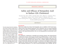 Safety and Efficacy of Bempedoic Acid to Reduce LDL Cholesterol