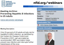 NFID Webinar: Preventing Hepatitis B Infections in US Adults