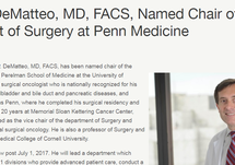 Press Release: Ronald P. DeMatteo Named Chair of the Department of Surgery at Penn