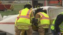 Emergency responders practice on simulated plane crash