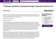170 Groups Send Letter on Proposed Changes to Physician Payment Rule