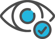 Icon of an eye with a small check mark